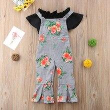 New 2pcs/set Children Set Fashion Flower Pattern Long Pants Short Sleeve T-shirts All-match Girls 0-5T Baby Girl Clothes