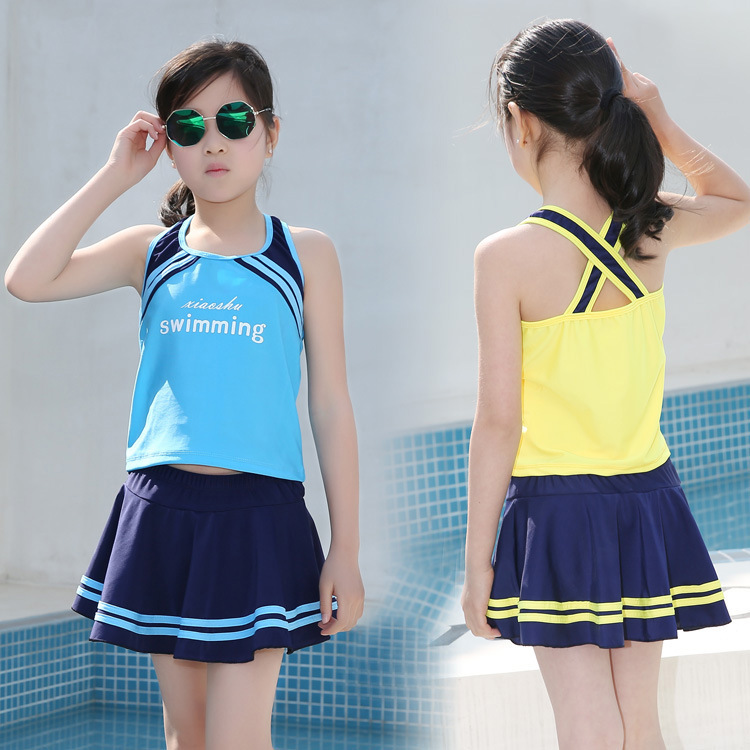 New Style GIRL'S Swimsuit Big Boy Korean-style Split Skirt-Conservative Boxer Split Type Tour Bathing Suit Students GIRL'S Swimw