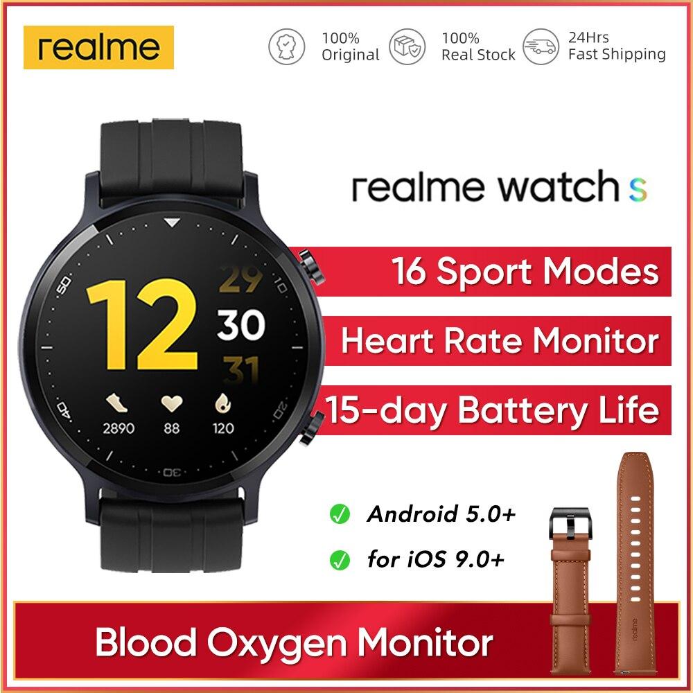 Realme часы S глобальная Версия смарт-часов Водонепроницаемый 15 день Батарея для отображения данных по содержанию кислорода в крови Посмотрит...