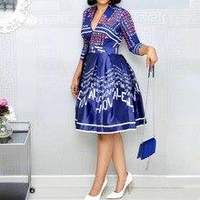 Вечерние платья миди с буквенным принтом, с поясом, женские синие Бальные платья с высокой талией, винтажные трапециевидные офисные пляжные женские платья