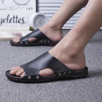 2020 solidne skórzane klapki mężczyźni wygodne t-strap sandały z odkrytymi palcami mężczyźni lato rzym Flip Flop Chinelo Masculino klapki plażowe tanie i dobre opinie ENLEN BENNA Podstawowe Moda RUBBER Slip-on Mieszkanie (≤1cm) Pasuje prawda na wymiar weź swój normalny rozmiar Na co dzień