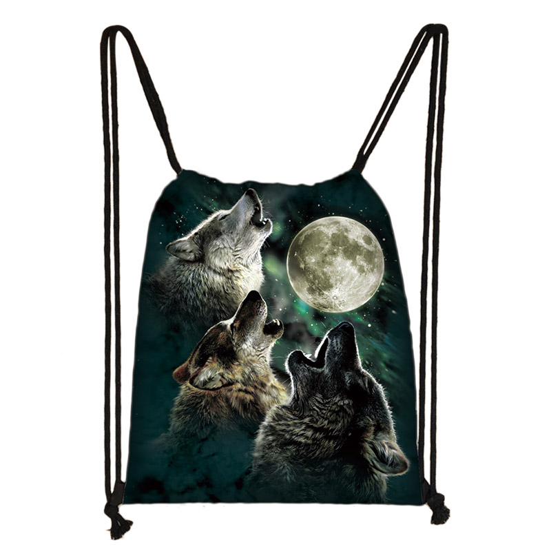 Cool Howling Wolf Print Drawstring Bag Women Men Storage Bags For Travelling Softback Canvas Backpack