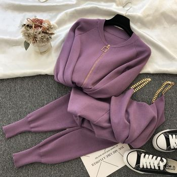 New 3pcs Knitting Suit Long-sleeved Zip Jacket Cardigans Tank Top Pants Women Fashion Solid Lounge Set Casual Tracksuits 9