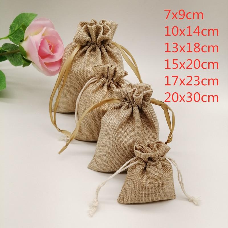 5-20 шт./лот мешочек из натурального льна, джутовый Подарочный пакет, подарочные пакеты на шнурке с ручками, подарочная упаковка вечерние паке...