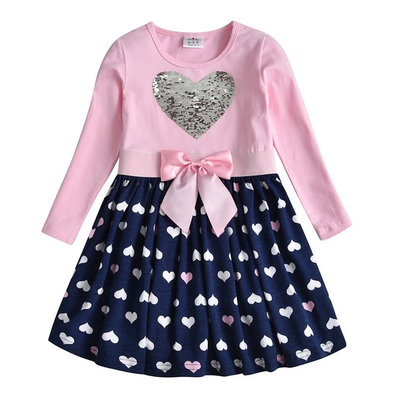 Ha3a882511b854e62995b0e5757585d04A VIKITA Girls Cotton Dress Long Sleeve Children Patchwork Vestidos Kid Dresses for Girls Clothes Toddlers Cartoon Princess Dress