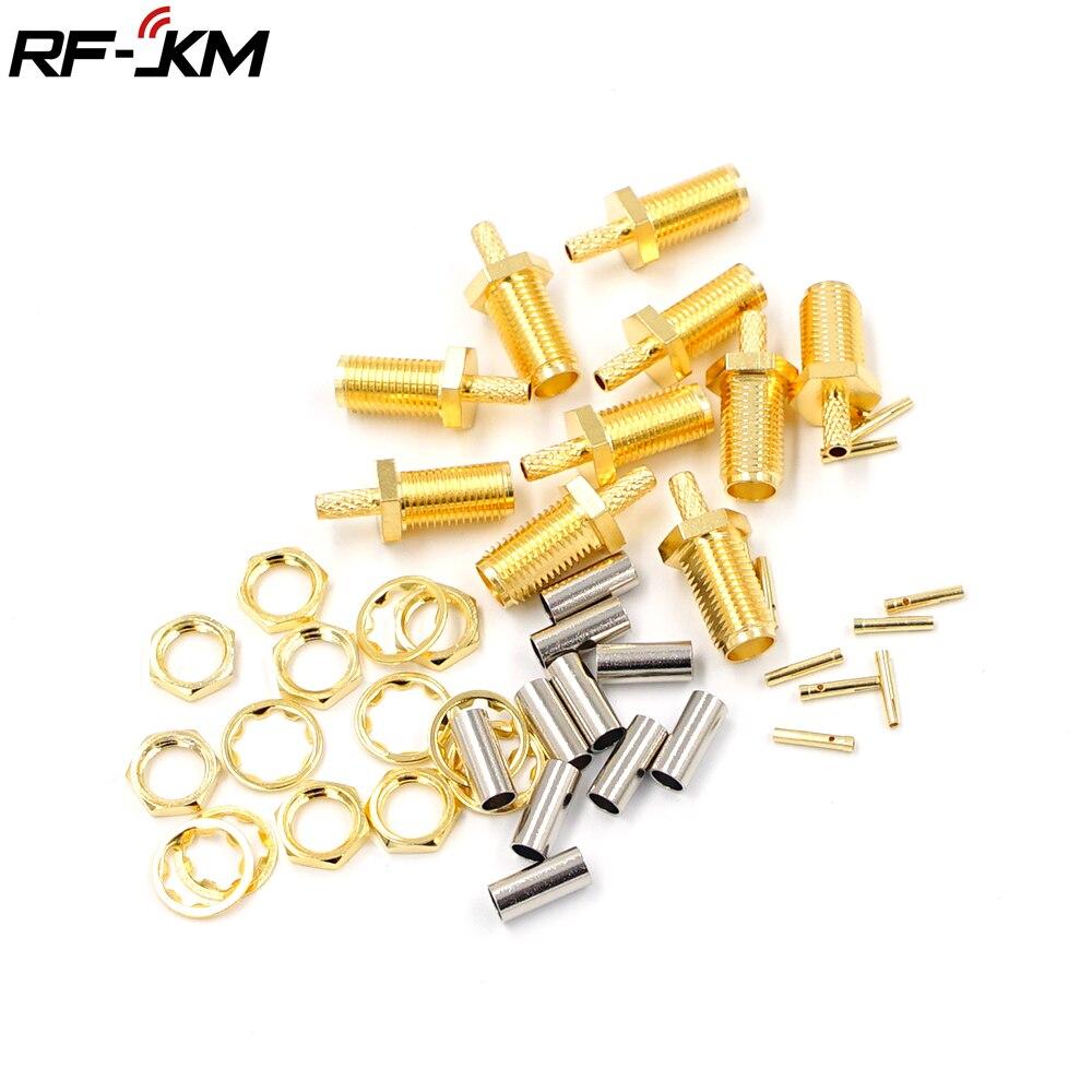 10 peças de Alta-qualidade SMA Fêmea Plug Cabo Conector RF friso para RG174 RG316 RG178 RG179 LMR100