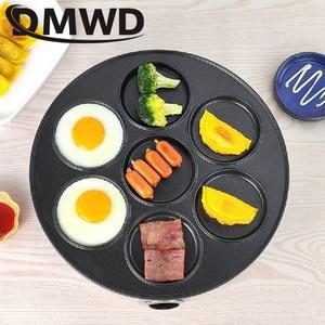 Image 2 - DMWD 7 trou poêle électrique omelette poêle pour oeufs jambon poêle gâteau fabricant poêles antiadhésive petit déjeuner Grill poêle marmite EU