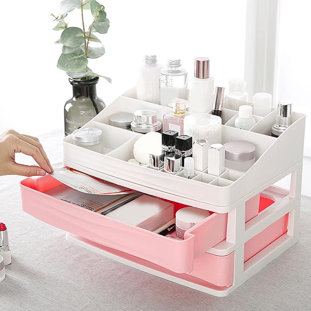 Gaveta de cosméticos de plástico organizador de maquiagem caixa de armazenamento recipiente prego caixão titular desktop caso diversos banheiro desktop