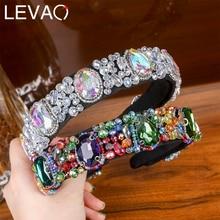 Levao New Fashion Style Headband Hair Accessories Acrylic Crystal Flower Pattern Headwear Hairbands Hair Hoop for Party