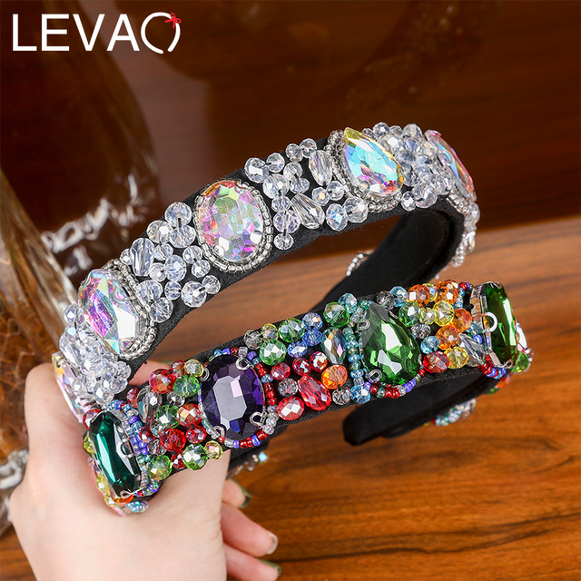 Levao New Fashion Style Headband Hair Accessories Acrylic Crystal Flower Pattern Headwear Hairbands Hair Hoop for Party