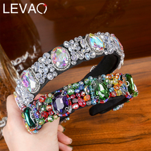 Levao חדש אופנה סגנון סרט שיער אביזרי אקריליק קריסטל פרח דפוס בארה ב Hairbands שיער חישוק למסיבה