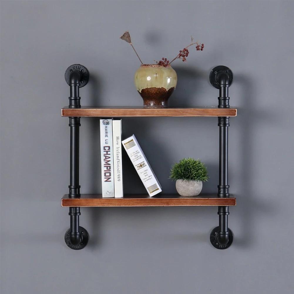 Floating Shelves Wall Mounted, Pipe Shelf Brackets Wooden Board, Industrial  Shelf Bracket for Book Storage Shelves Natural wood