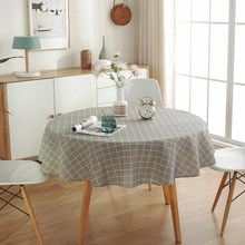 Dustproof Protective Cover Cotton Linen Soft Kitchen Wedding Oilproof Restaurant Dining Room Round Tablecloth Home Decoration(China)