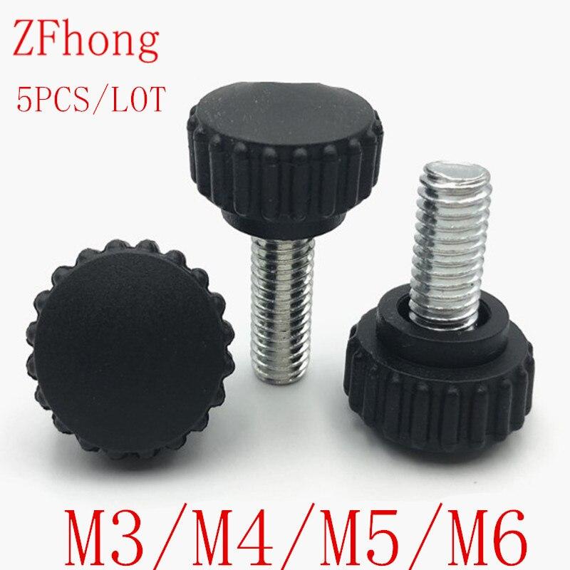 M3 M4 M5 M6 Thumb Screw Brass Knurled Adjust Screws Bolt 4Pcs