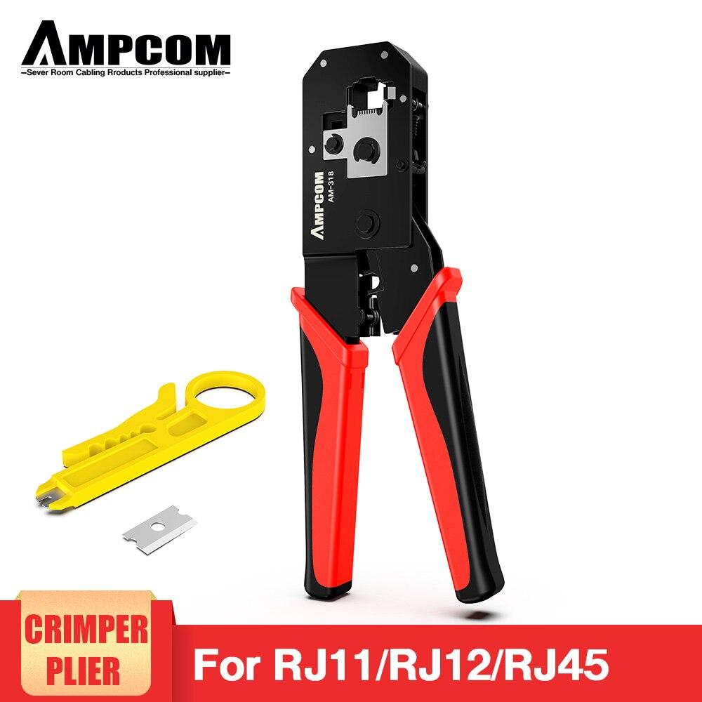 AMPCOM RJ45 Crimping Tool Ethernet Network LAN Cable Crimper Cutter Stripper Plier Modular 8P RJ45 and 6P RJ12 RJ11