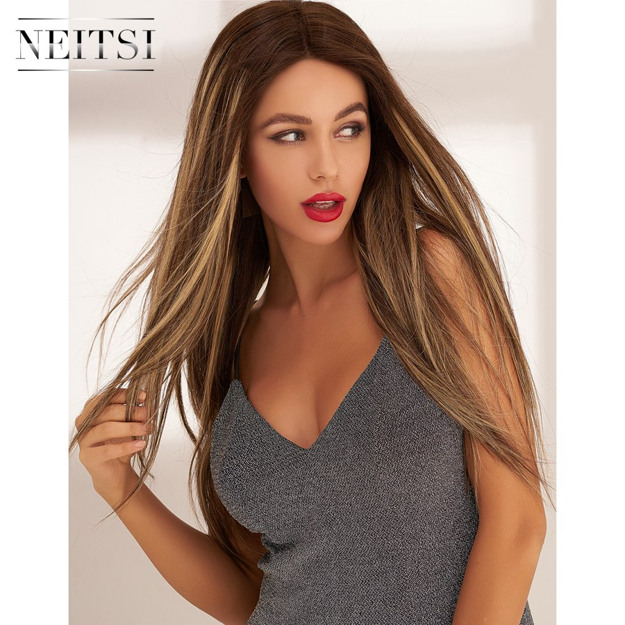 Neitsi Half Lace Wig Remy Human Hair Hand Tied Bayalage Color 20'' 150% Denisty Straight Long Colorful Women Wigs Free Shipping