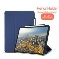For iPad Pro 11 Case Pencil Holder Twill PU Tri Fold Smart Flip Cases For iPad Pro 11 2018 Cover Funda Coque A2013 A1934 A1980