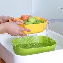 Двухслойная умывальник сливной корзина для белья фрукты овощи полезный продукт корзина кухня Современная Гостиная креативный дом