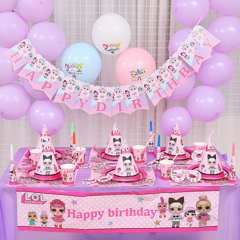 Birthday Party LOL Dolls Surprise DIY Theme Decoration Supplies Holiday Cup Plate Spoon Wedding Cake Topper Activity Kids Gifts