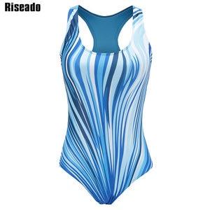 Image 4 - Riseado Sport One Piece Swimsuit Competitive Swimwear Women 2020 Digital Printing Racer Back Bathing Suits Plus Size XXXL