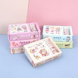 16 sztuk/pudło opakowanie na prezent naklejki zestaw taśm Washi ładna dziewczyna taśmy papierowe do dziennika Scrapbooking DIY Deco Kawaii taśmy maskujące