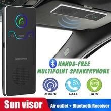 Handsfree sem fio bluetooth carro kit elegante mãos livres chamando transmissor sun visor speakerphone com carregador de carro para o telefone
