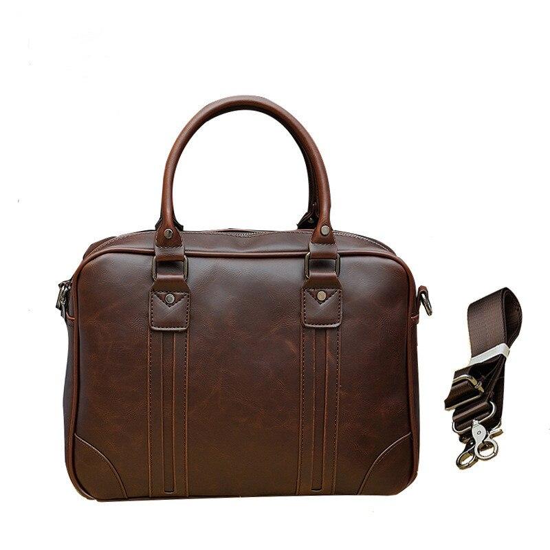 Crazy Horse Leather Man Bag Business Case Attache Vintage Style Office Briefcase Black Laptop Messenger Computer Handbag Men0001