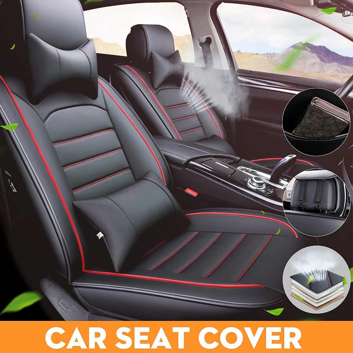 Doux portable et confortable respirant housse de siège en cuir de voiture avant arrière coussin de siège ensemble avec oreiller SUV Type à usage général