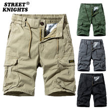 2021 New Summer Solid Color Fashion Cotton Casual Breeches Cargo Men Shorts Men Breathable Quick Dry Multi Pocket Hip Hop Shorts