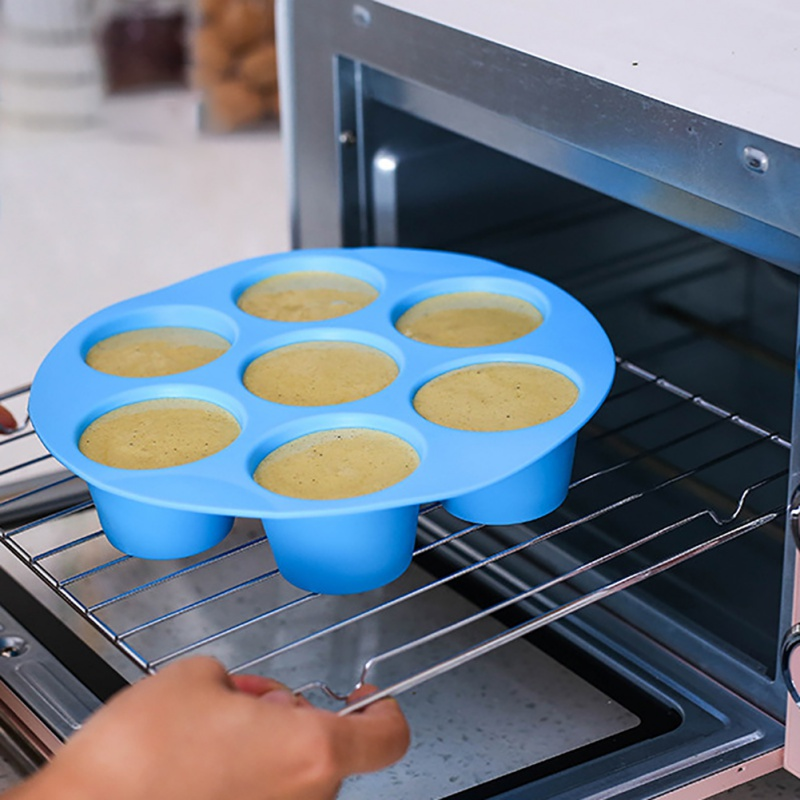 Silicone Egg Cake Mold 7 Hole Round Mold Cake Grid Egg Steam Mold Air Fryer Accessories Reusable Storage Container