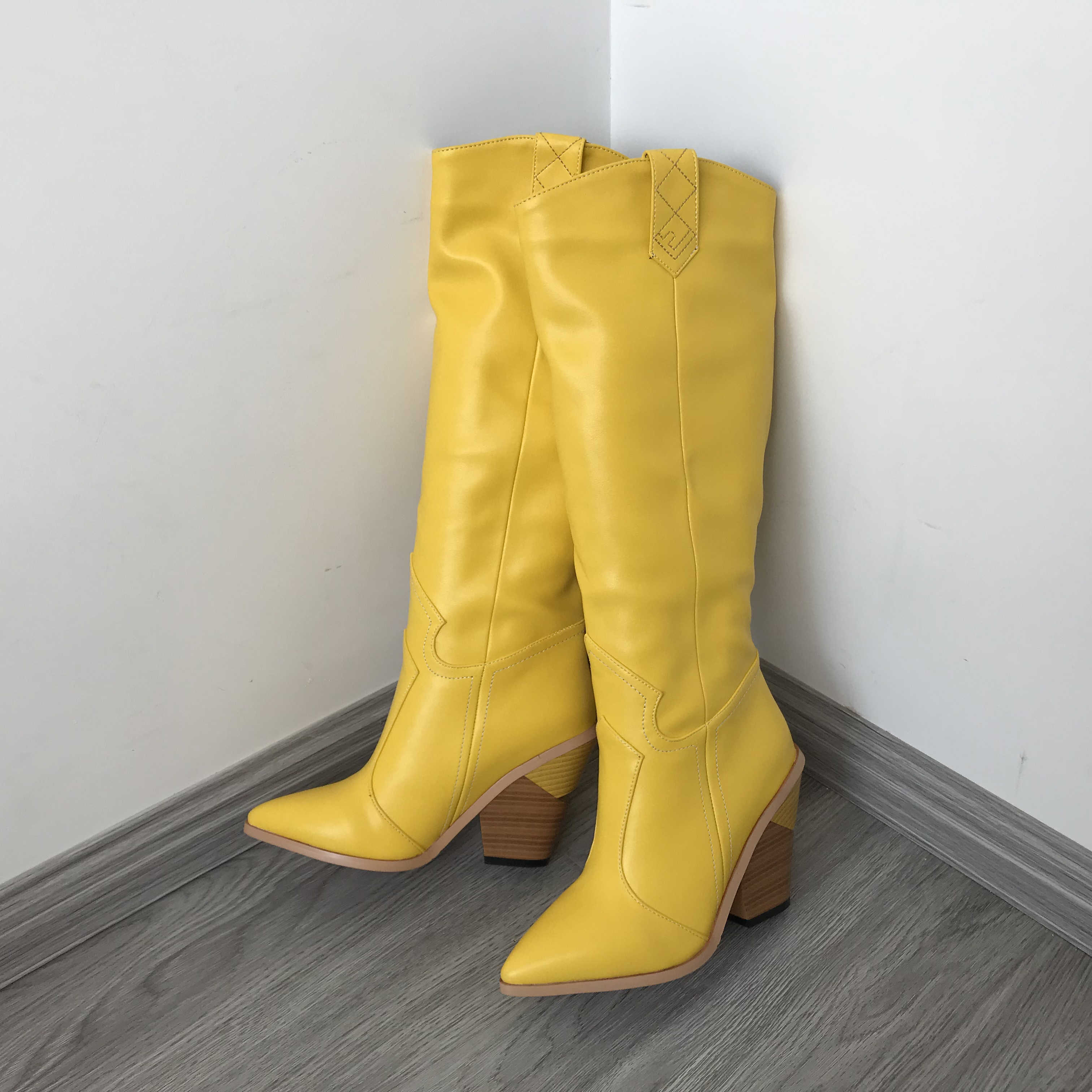 Sarı kırmızı siyah Band tasarımcı kovboy çizmeleri kadınlar için sivri burun kama topuk uzun çizmeler 2019 kış kare topuk Cowgril çizmeler