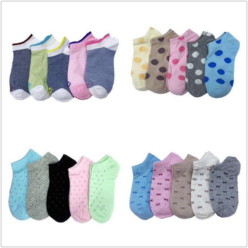 1 Set 4/5 Pairs Women Boat Socks Low Cut No Show Socks Women Cotton Kawaii Slippers Dropshipping Wholesale