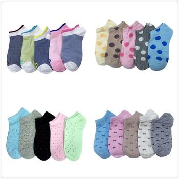 1 Set 4/5 Pairs Women Boat Socks Low Cut No Show Cotton Kawaii Slippers Dropshipping Wholesale