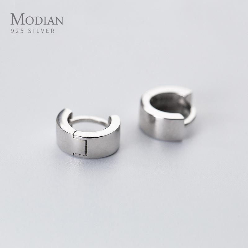 Modian Ear Hoops 925 Sterling Silver Luxury   Black Mature Hoop Earrings For Women Wedding Engagement Jewelry Gifts Accessories
