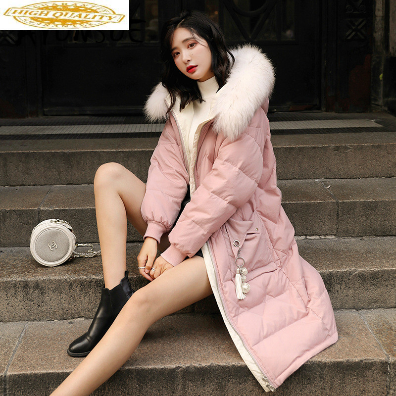 White Duck Down Jacket Women Clothes 2019 Winter Coat Women Raccoon Fur Collar Korean Puffer Jacket Women Warm Parka 8090 YY2126