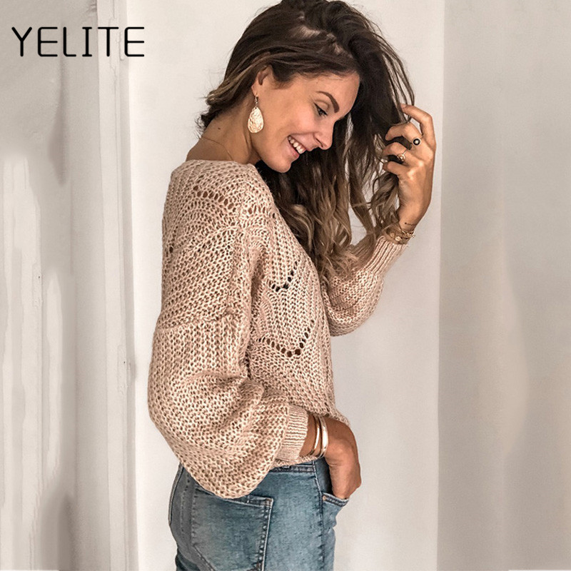 Korean Ladies Full Sleeve Women Knitting Sweater Solid O-Neck Pullover Jumper Loose Sweater Winter female Knitted Long Sleeves