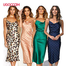 UGOCCAM Women Long Silk Dress V-Neck Lady Casual Summer Slip Bodycon Solid Spaghetti Straps Slip Sundress Casual Party Club Clot(China)