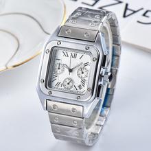 Top marka kwadratowy zegarek mężczyźni klasyczny Vintage mężczyźni zegarek kwarcowy tarcza ze stali nierdzewnej ekskluzywny zegarek Montre Homme tanie tanio miflame Luxury ru QUARTZ STAINLESS STEEL 5Bar CN (pochodzenie) Zapięcie bransolety Hardlex 20cm Ze sztucznej skóry 37mm