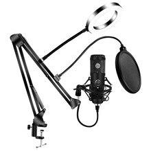 Kits de microfone usb com 6 Polegada anel luz braço suporte profissional anel estúdio kit para karaoke gravação microfone