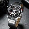 Мужские часы Топ бренд класса люкс хронограф мужские часы Кожа Роскошные водонепроницаемые спортивные часы Мужские наручные часы