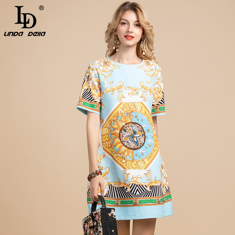 LD LINDA DELLA Fashion Designer Summer Dress Women's Short Sleeve Gorgeous Floral Embroidery Crystal Beading Vintage Dresses