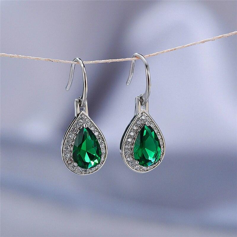 Charm Female Rainbow Geometry Dangle Earring Classic Gold Silver Color Wedding Earring Cute Zircon Stone Drop Earrings For Women