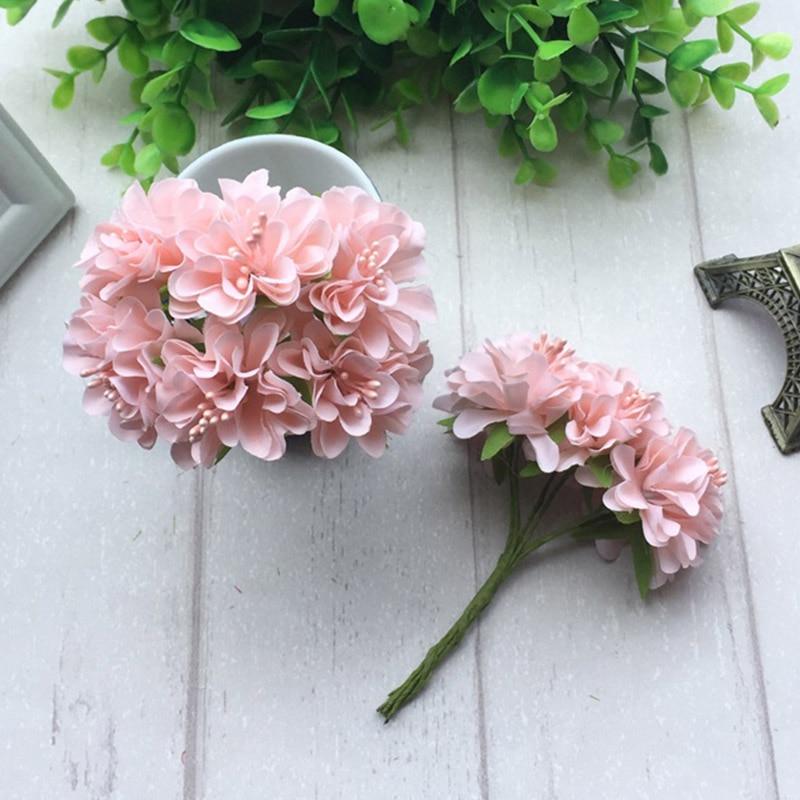 6pcs Silk Stamen Artificial Flower Bouquet Wedding Party Decoration DIY Handmade Wreath Gift Scrapbooking Craft Fake Flowers