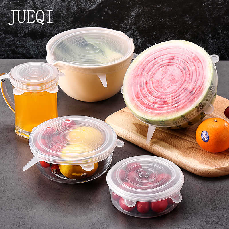 Stretchy Lids Wrap Fit All Shape 6pcs Reusable /& Adjustable Silicone Food Cover