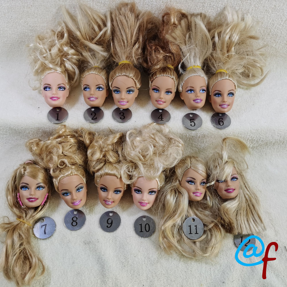 B5-1 Original Foreign Trade Europe Smile Blue Eyes Beauty 1/6 OOAK NUDE Doll Head Mussed Golden Hair For DIY 90% NEW