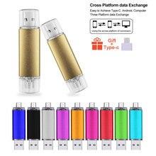 Smart Phone USB Flash Drive Metal Pen Drive 64gb Pendrive 8gb 16gb 32gb 4gb OTG External Storage 3 In 1 Memory Stick Flash Drive