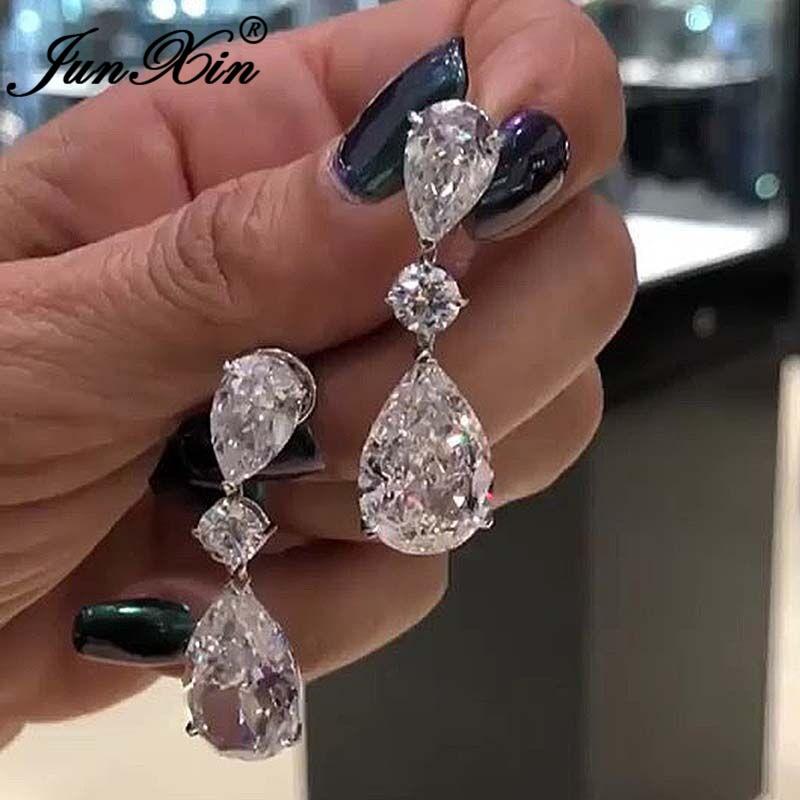 Austrian Crystal Water Drop Earrings Silver Color Pear Cut White Zircon Teardrop Dangle Earrings For Women Wedding Jewelry
