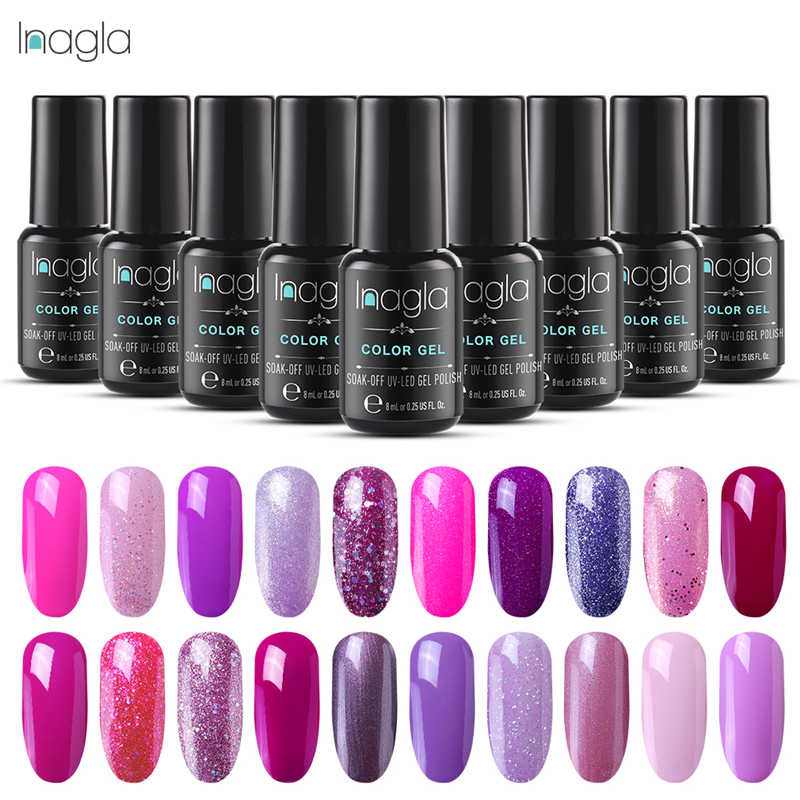 Inagla Gel 8ML LED UV Gel Nail Polish Soak Off Nail Art Design Gel UV Verniz 24 Roxo Cores Manicure Gel Prego Laca