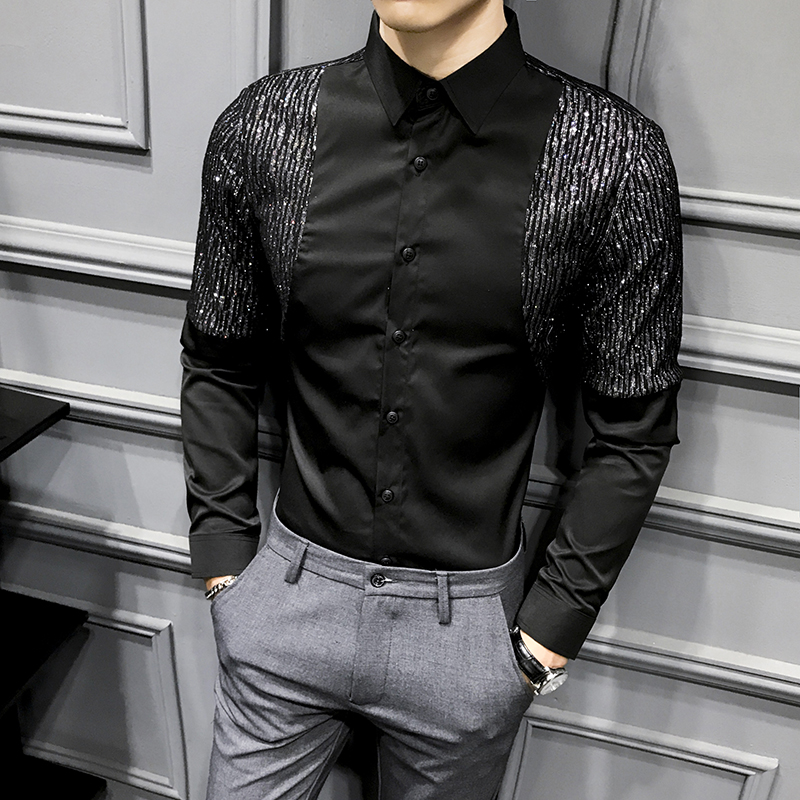 Casual Men Shirt Long Sleeve 2020 Sequin Black White Slim Fit Top Blouse Night Club Party Bar Streetwear Social Dress Shirts