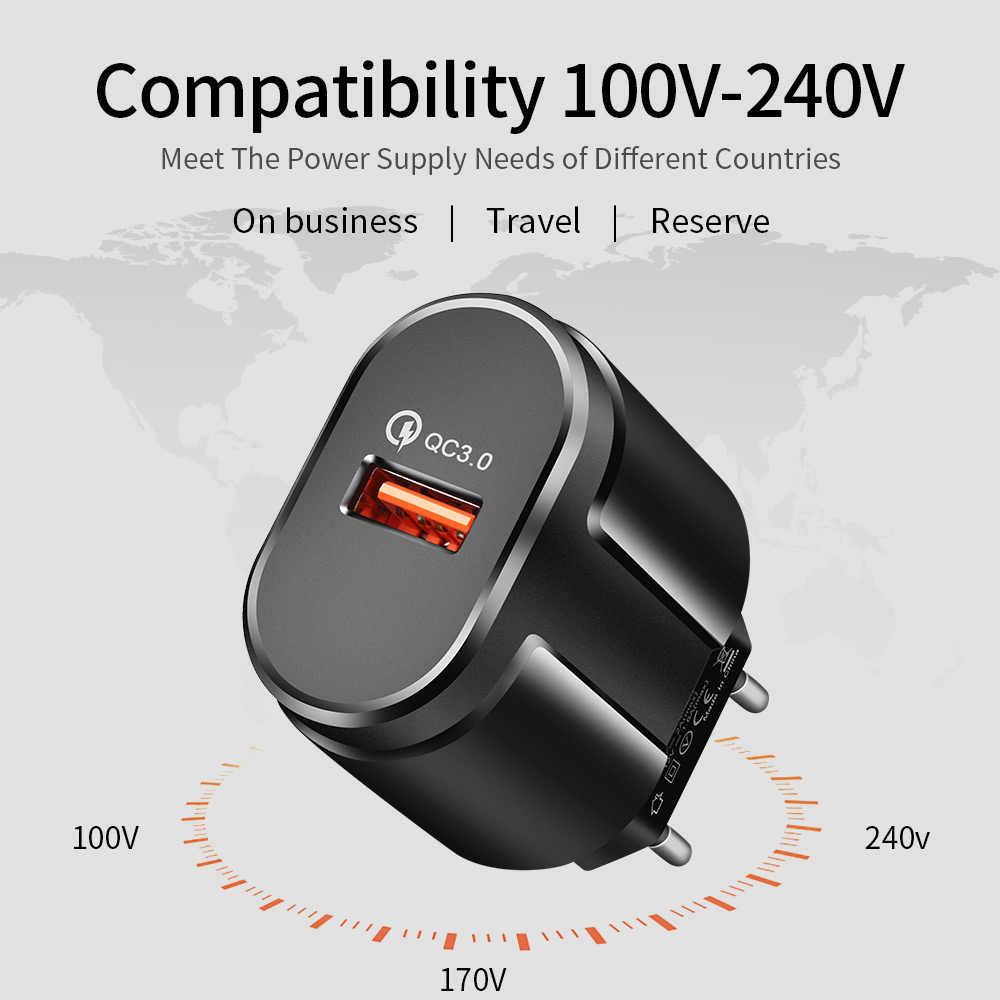 Rock carga rápida qc3.0 usb eua ue carregador rápido universal do telefone móvel carregador de parede usb carregador adaptador para iphone samsung xiaomi